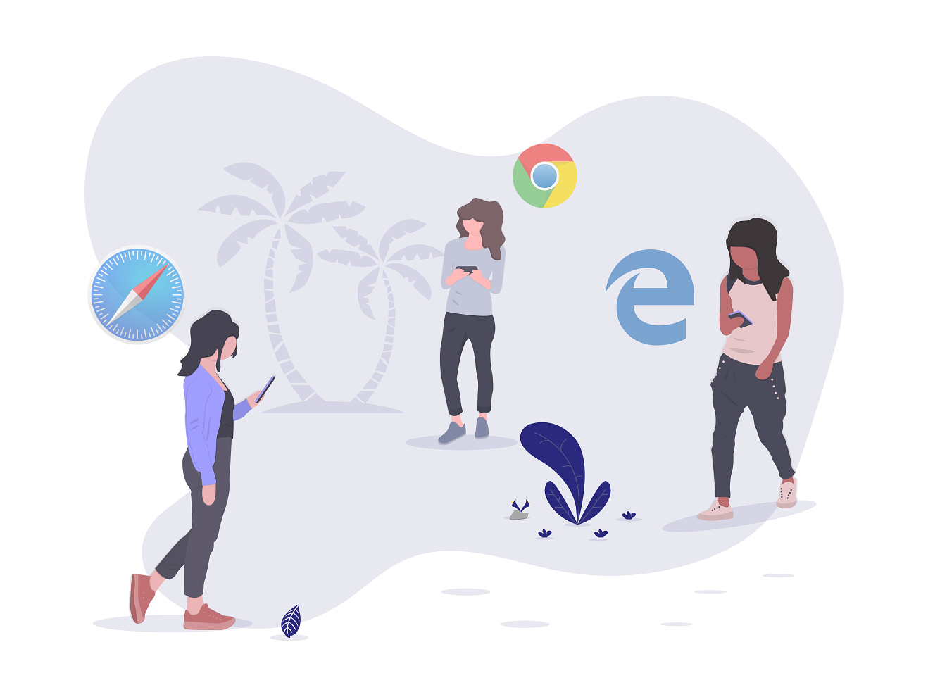 Illustration of people using different browsers