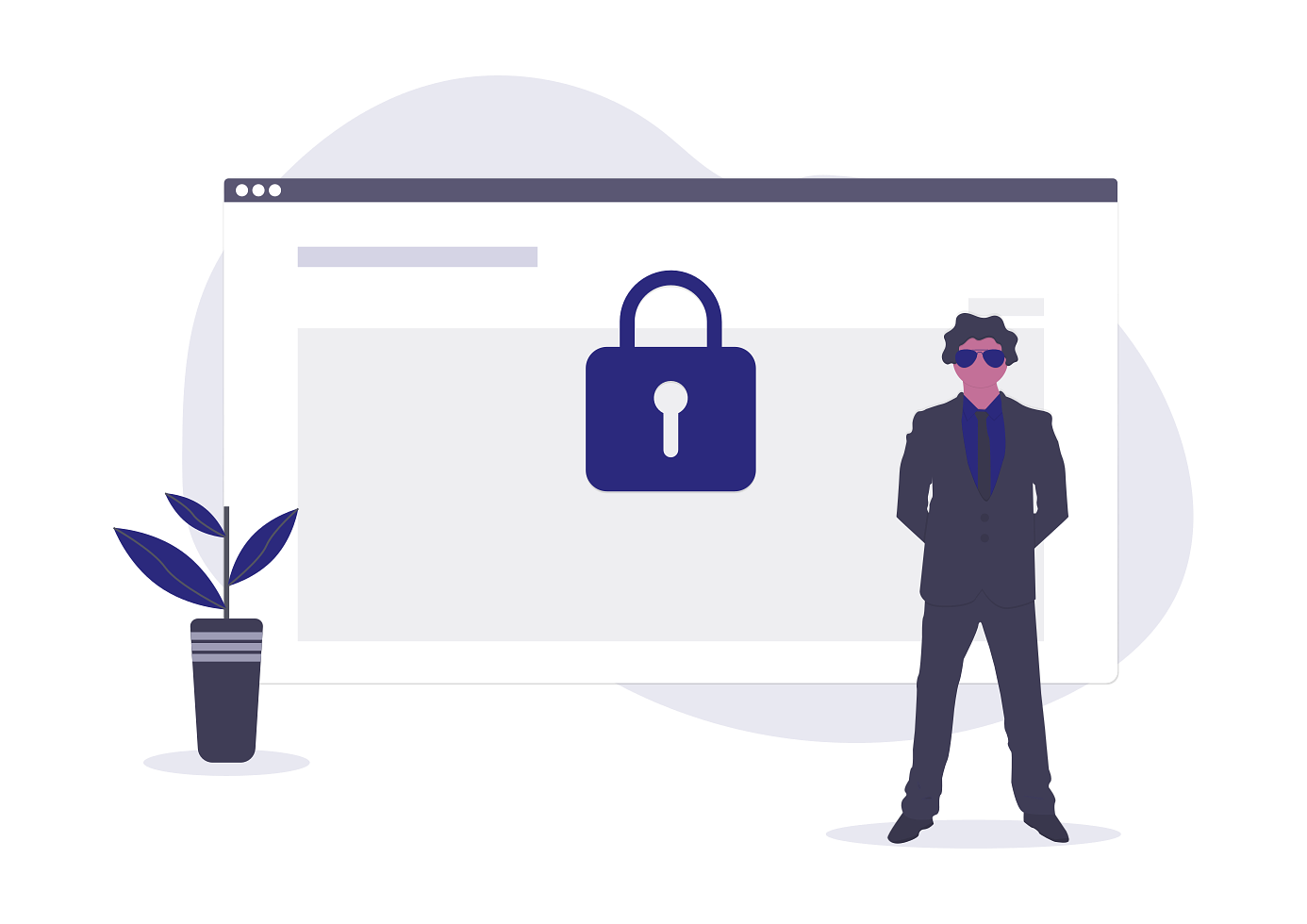 Illustration of a security guard protecting a website