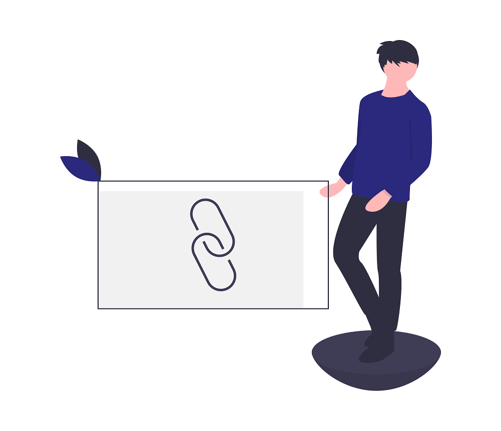 Illustration of a person creating a Web link